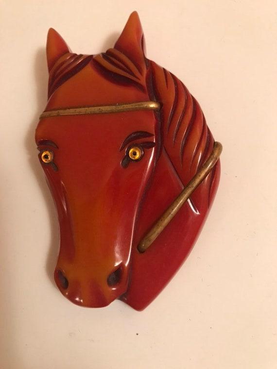 Bakelite Horse Brooch| Bakelite Horse Head| Bakeli