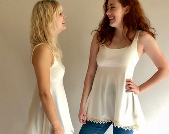 Candice Lace Edge Tank Top in Ivory Tencel with Organic Cotton Lace