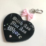 Bitch Ass Slut Ass Whore Black & Opal Purse Charm