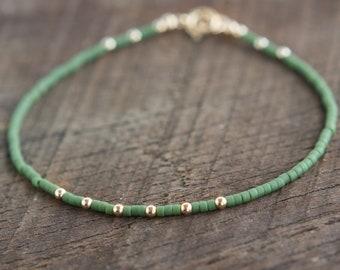 Camo Green Bracelet. Dainty Friendship Bracelet Beaded. Minimalist Gold Silver Bracelet with Tiny Beads. BFF Gift. Thin Layering Jewelry.