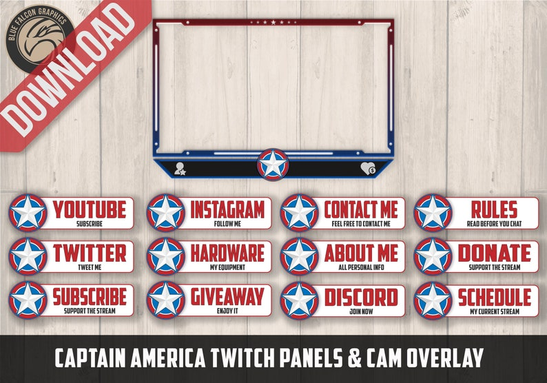 Captain America Themed Twitch Panels & Cam Box Overlay