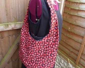 Handmade Shoulder/Beach Bag Cotton Fabric Poppy Print