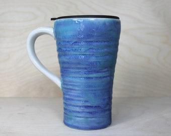 Ceramic Travel Mug - Lagoon (with handle and lid)