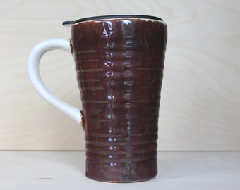 Ceramic Travel Mug - Coffee Bean (with handle and lid)