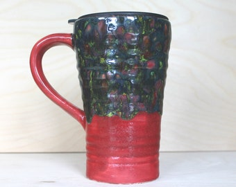 Ceramic Travel Mug - Rose Garden (with handle and lid)