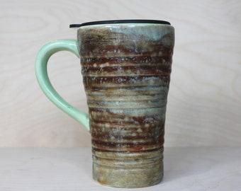 Ceramic Travel Mug - Aguacate (with handle and lid)