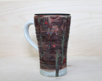 Ceramic Travel Mug - Alien Terrain (with handle and lid)