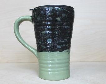 Ceramic Travel Mug - Sagebrush (with handle and lid)