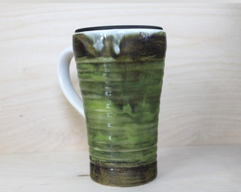 Ceramic Travel Mug - Snake Skin (with handle and lid)