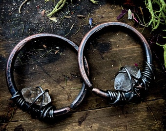 Brutalist Ear Hangers Hoops for Ear Tunnels Statement Jewelry Witchy Crust Punk Pagan  Occult Witchcraft Jewelry Black 8g Ear Weights