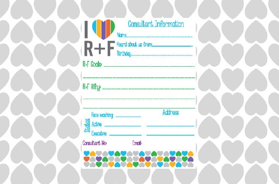 rodan and fields printable consultant sheet multi colored etsy
