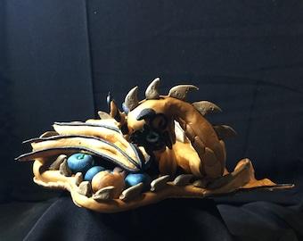 Metallic Gold Dragon with Eggs