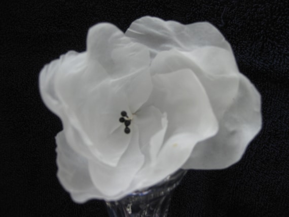White silk flower black stamens etsy image 0 mightylinksfo