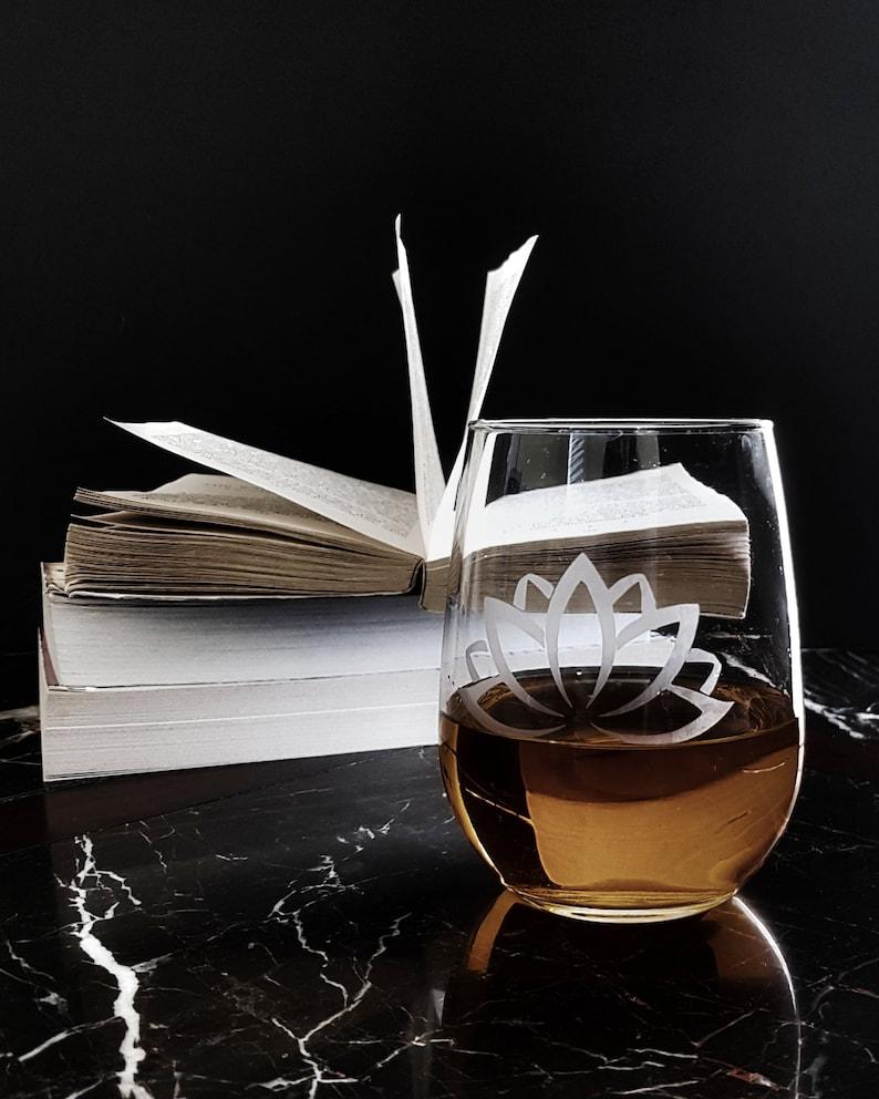 Lotus Flower Stemless Wine Glass Tumblr Etsy