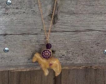 Palomino Ceramic and Purple Necklace