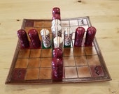 Hnefatafl Brandubh Leather Board and Bone Pieces Game Set