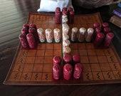 Hnefatafl Tawlbwrdd Leather Board and Bone Pieces Game Set