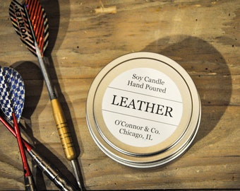 Leather Soy Candle - 6oz Tin