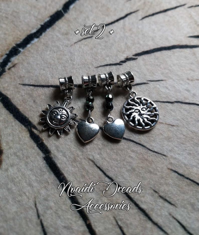 Dread beads ~ Set of 4 dangling dread beads /'/'Set 2/'/' ~ Handmade ~ by NoaidiDreads