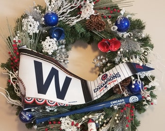 Chicago Cubs Winter Wreath