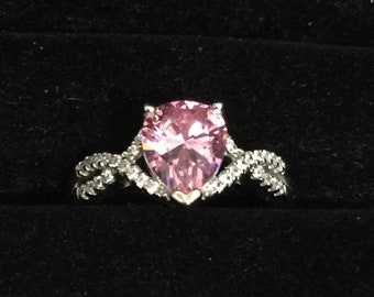 Baby Pink color lab created Sapphire, 925 Silver