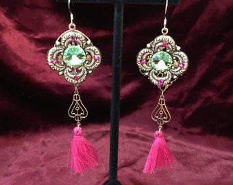 Fuschia Peridot Beauty Earrings