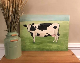 Cow Farmhouse painting on canvas