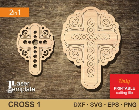 photograph relating to Religious Cross Template Printable named Wood Faith cross. Vector template for laser reducing. 2 patterns inside a mounted. For a decor or a present. Cnc document. Cnc vector. Printable artwork