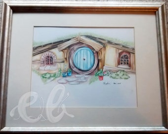 "Hobbit Hole coloured pencil sketch, Lord of the Rings, JRR Tolkien- Unframed Print 8""x10"""