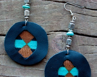 Leather and clothe earrings