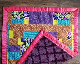 Girl Baby Blanket - Baby Blanket - Minky Blanket - Handmade Blanket- Baby Quilt - Bird Blanket - Pink & Purple Blanket