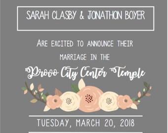 elegant floral design wedding invitation