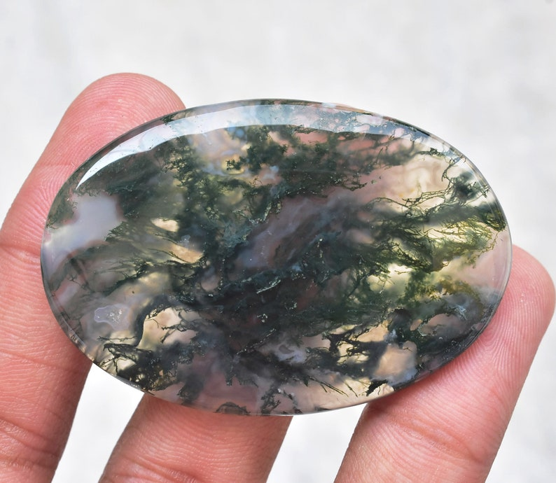 54x36x5 mm Loose Gemstone G-91 Moss Agate Cabochon  High Quality Green Moss Agate Gemstone  For Jewelry  Oval Shape  98.10 ct