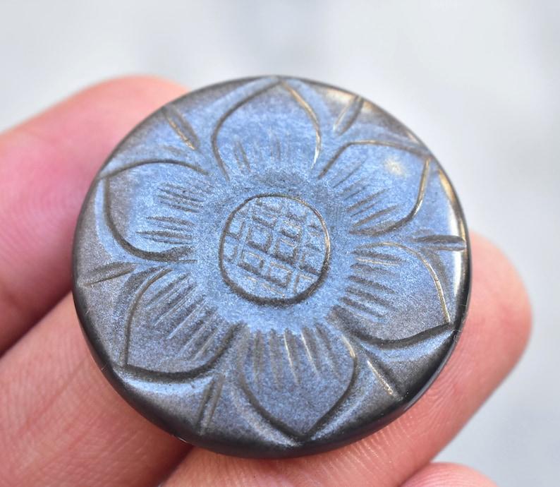 32x6 mm Silver Sheen Obsidian Carving Cabochon  Top Flashy Silver Obsidian Gemstone  Round Shape  45.20 Ct Loose Gemstone H-934