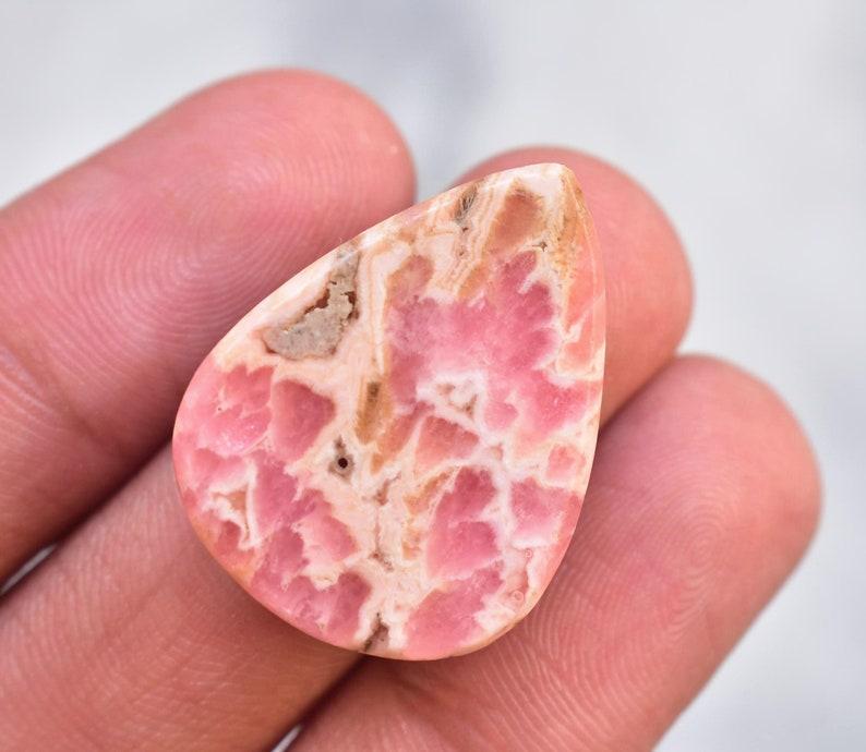 Rhodochrosite Cabochon  High Quality Rhodochrosite Gemstone  Pear Shape  32.30 Ct Loose Gemstone  I-527 27x21x6 mm
