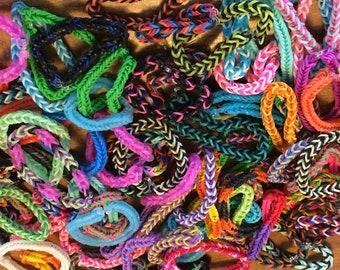 Five for Five - Grab Bag of Bracelets - Fishtail Rainbow Loom Rubber Bands (5 bracelets in each order)