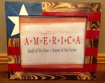 5x7 Reclaimed Pallet Wood Picture Frame American Flag Etsy