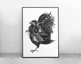 ROOSTER screenprint poster