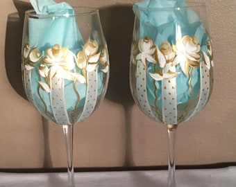 Hand Painted Wine Glasses, Wedding Theme