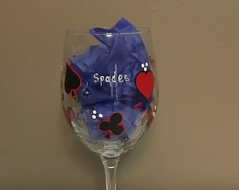 Hand Painted Wine Glass, Card Game Themed