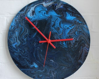 """Upcycled 12"""" vinyl record transformed into a beautiful wall clock with acrylic pour paint art, """"Bulldog"""""""