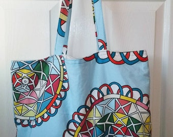 Bright summery graphic print lined tote bag with shoulder straps, reusable shopper