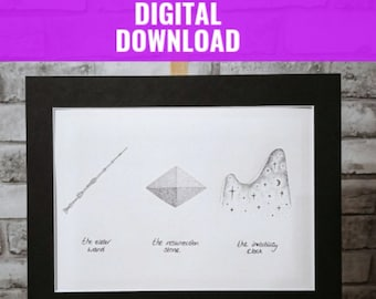 Instant Download Deathly Hallows Harry Potter Art