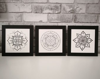 496b6f9f8f8 Set of 3 Mandala Prints - Original Designs