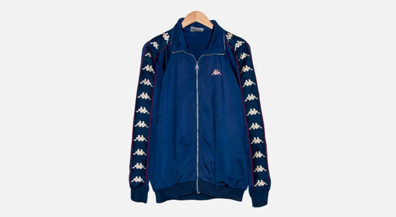Vtg Kappa Navy Blue Full Zip Track Jacket Mens siz