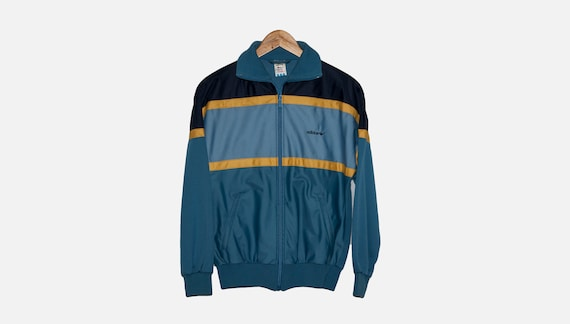 vintage ADIDAS ORIGINALS mens Nylon jacket authentic rare retro sweat with hood Size SXS blue hipster rave sweatshirt 90s 80s running outfi
