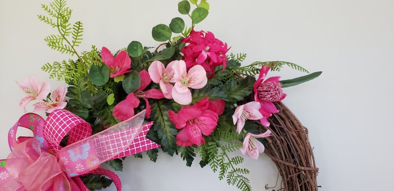 Grapevine Wreath with Pink Flowers and coordinating bow