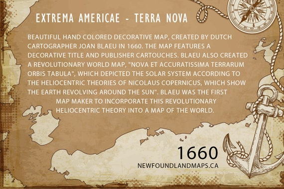 Wooden 1660 Extrema Americae - Terra Nova (Newfoundland) Map WOOD PRINT