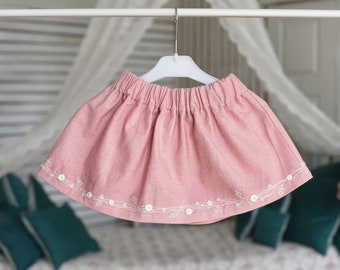 Linen skirt with embroidery stitches for girls