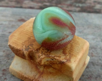 Beach Sea glass Marble Shooter Red and Green with Ceramic Insulator Stand